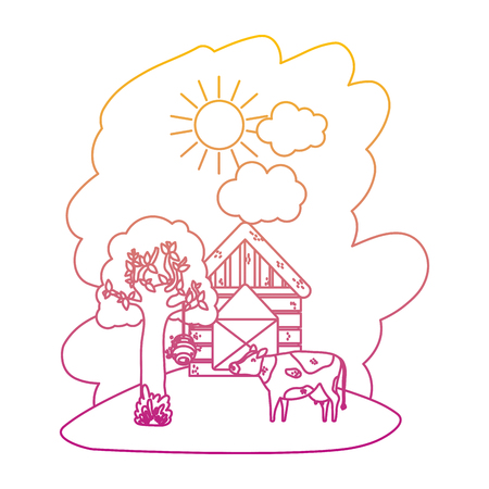 degraded line house farm with cow animal and tree vector illustration Illustration