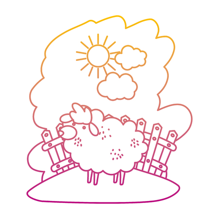 degraded line sheep farm animal indide wood grillage vector illustration Illustration