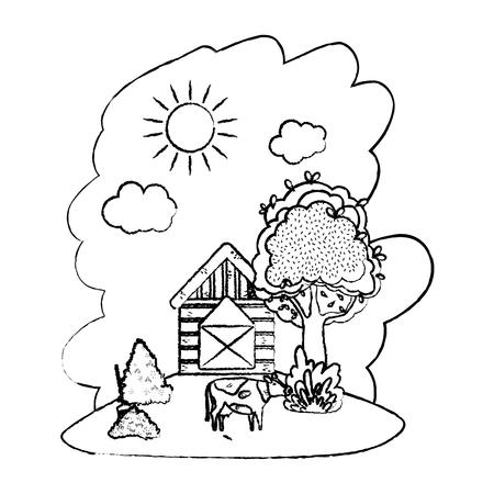 ferme de maison grunge avec illustration vectorielle de vache et balle de paille