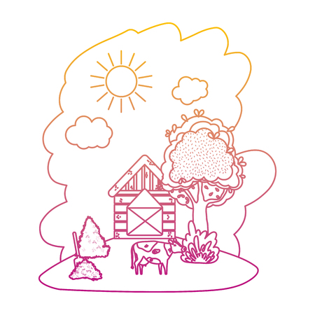 degraded line house farm with cow and straw bale vector illustration