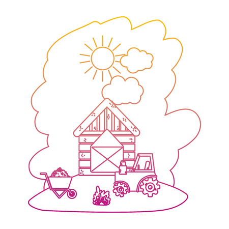 degraded line house farm with tractor and handcart with straw bale vector illustration
