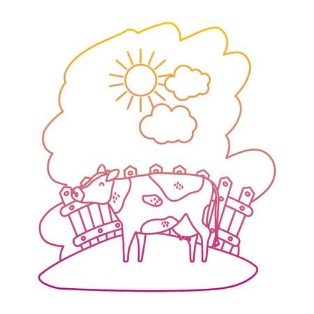 degraded line cow farm animal inside wood grillage vector illustration Illustration