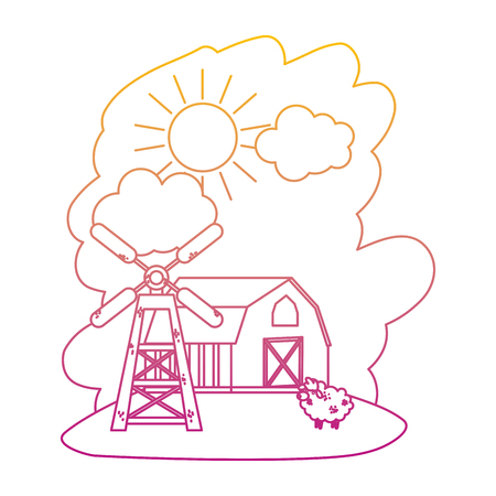 degraded line house farm with sheep animal and windmill vector illustration Illustration