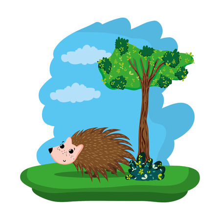 porcupine cute wild animal in the forest vector illustration Illustration