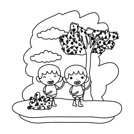 line happy children boys in the forest reserve vector illustration Stock Illustratie