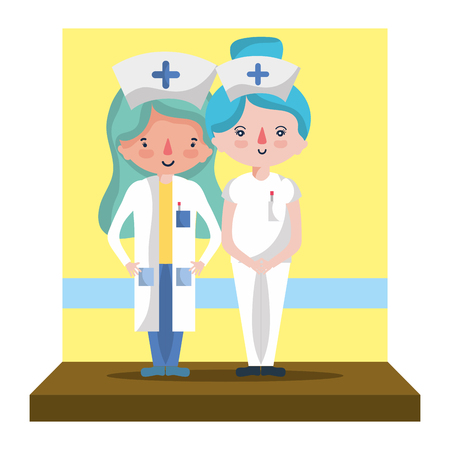 happy nurses together with professional uniform vector illustration Illustration