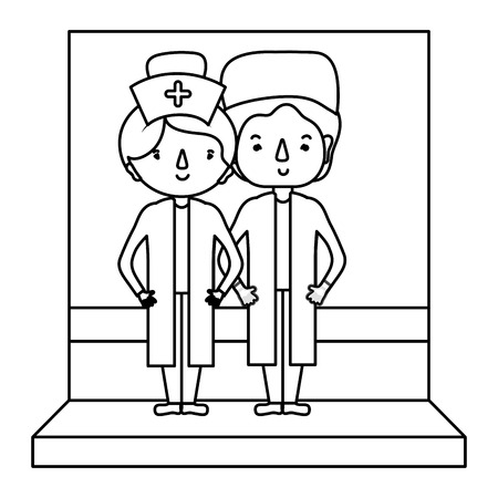 line nurse assistant and professional doctor with uniform vector illustration