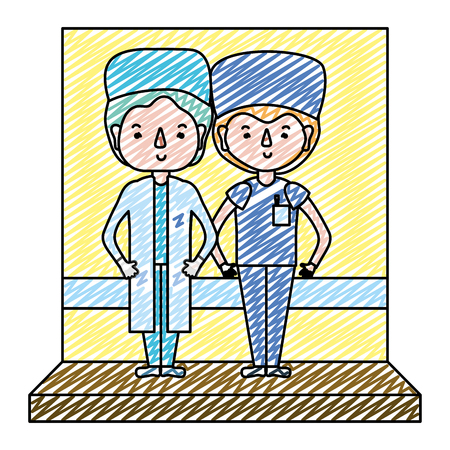doodle professional men doctors together with uniform vector illustration