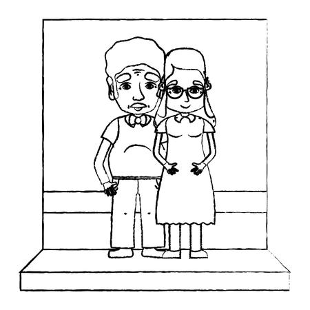 grunge nice woman and man elderly couple vector illustration