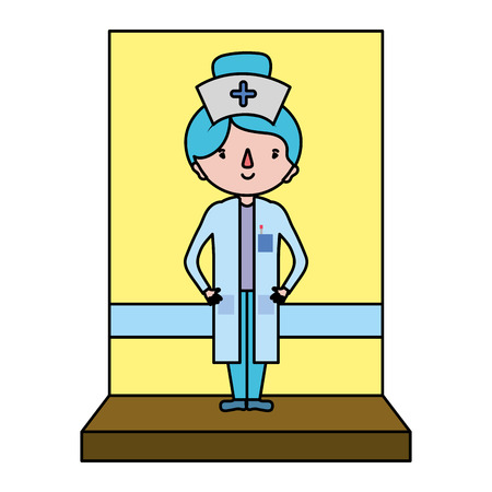 color cute nurse with hairstyle and professional uniform vector illustration Illustration
