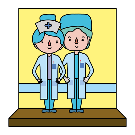 color nurse assistant and professional doctor with uniform vector illustration Ilustrace