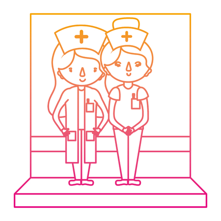 degraded line happy nurses together with professional uniform vector illustration