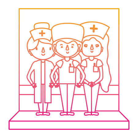 degraded line women nurses assistant with professional doctor vector illustration Ilustracja