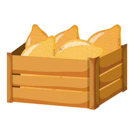 delicious papaya fruit inside wood basket vector illustration