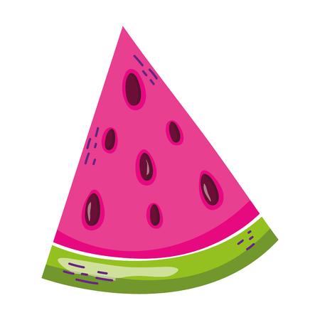delicious slice watermelon fruit vitamin vector illustration Vettoriali