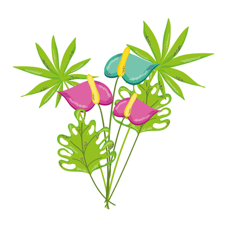 exotic nice flowers and tropical plants vector illustration Stock Illustratie