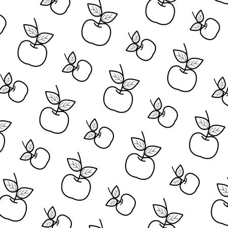 line delicious fresh apple fruit background vector illustration