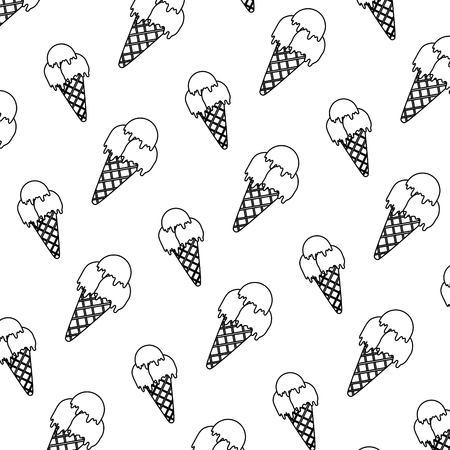 line ice cream with three balls background vector illustration