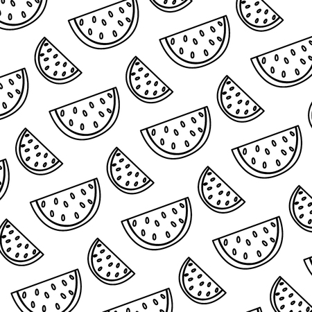 line delicious slice watermelon fruit background vector illustration