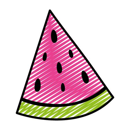 doodle delicious slice watermelon fruit vitamin vector illustration