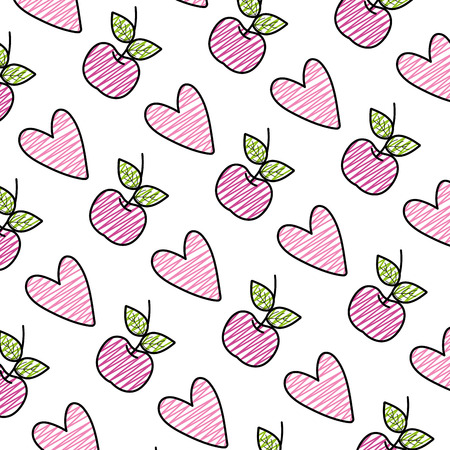 doodle apple fruit and heart style background vector illustration