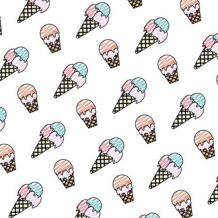 doodle delicious ice cream dessert background vector illustration