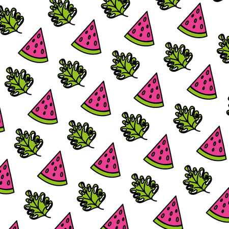 color watermelon fruit and exotic plant background vector illustration