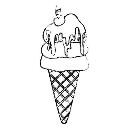grunge sweet ice cream cone with cherry vector illustration