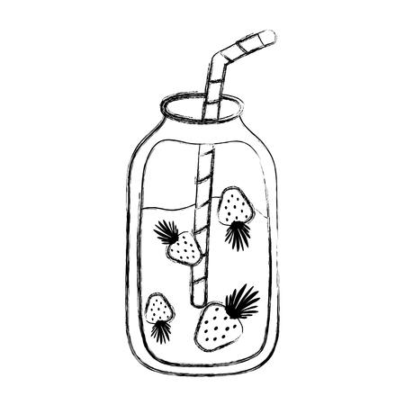 grunge fresh strawberry sweet smoothie beverage vector illustration Illustration