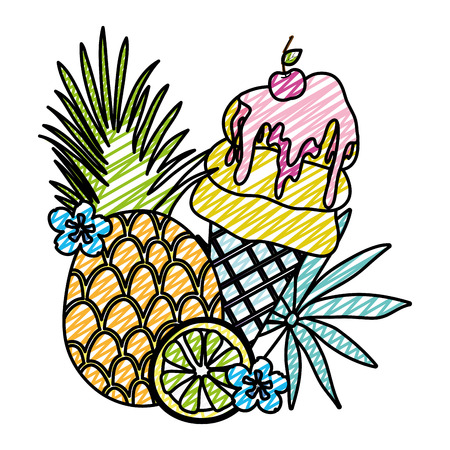 doodle tropical pineapple and lemon with ice cream vector illustration