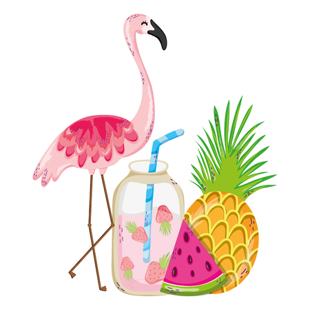 tropical flemish with exotic fruits and smoothie vector illustration Illustration