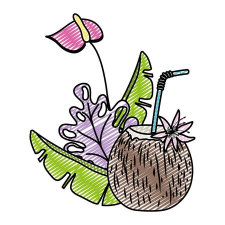 doodle tropical plants with exotic coconut beverage vector illustration Illustration