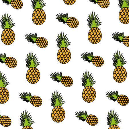 color exotic pineapple tropical fruit background vector illustration