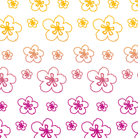 degraded line beauty tropical flower with petals background vector illustration