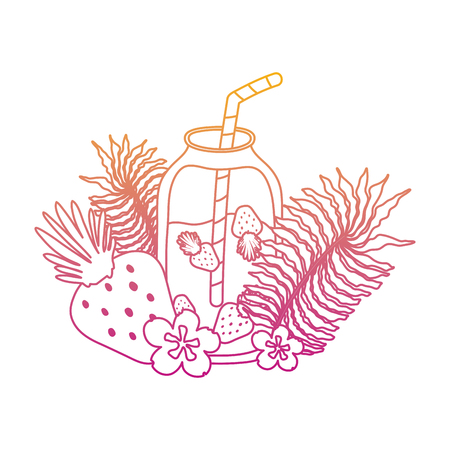 degraded line smoothie beverage with exotic plants style vector illustration