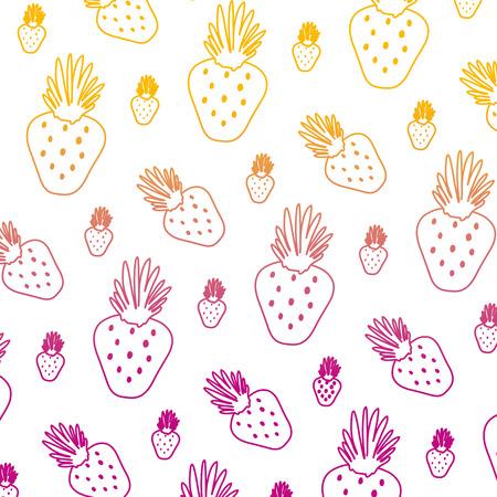 degraded line exotic strawberry tropical fruit background vector illustration Illustration