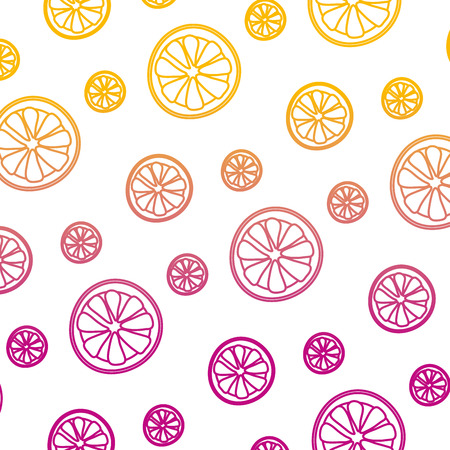 degraded line exotic slice lemon fruit background vector illustration