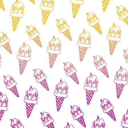 degraded line sweet ice cream with cherry background vector illustration Illustration