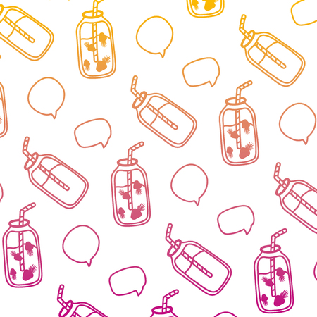 degraded line smoothie beverages with chat bubbles background vector illustration