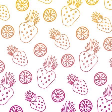 degraded line exotic strawberry and lemon fruits background vector illustration Illustration