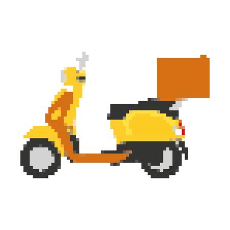 Ilustración de vector de servicio de transporte de entrega de motocicleta pixelada Ilustración de vector