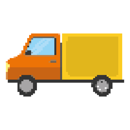pixelated truck delivery transport service vector illustration Ilustrace