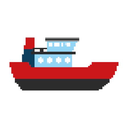 pixelated ship delivery sea transport vector illustration Illustration