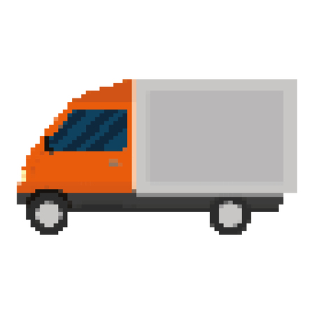 pixelated truck commercial delivery transport vector illustration Illustration