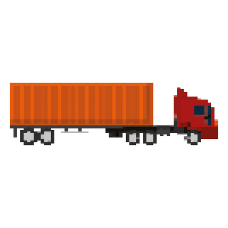pixelated truck cargo delivery service vector illustration