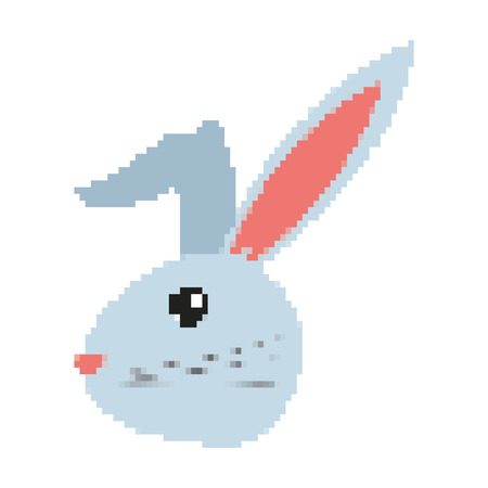 pixelated rabbit head wild animal vector illustration