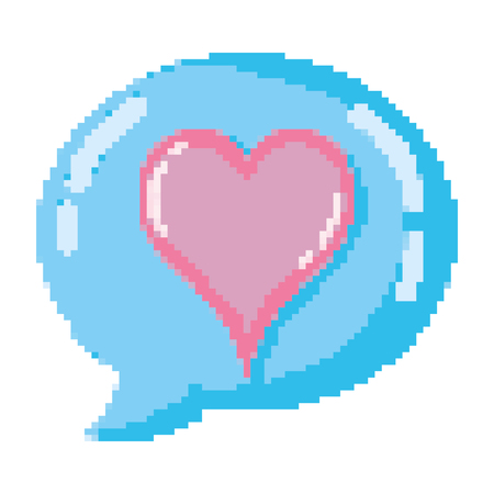 pixelated heart symbol with chat bubble vector illustration Illustration