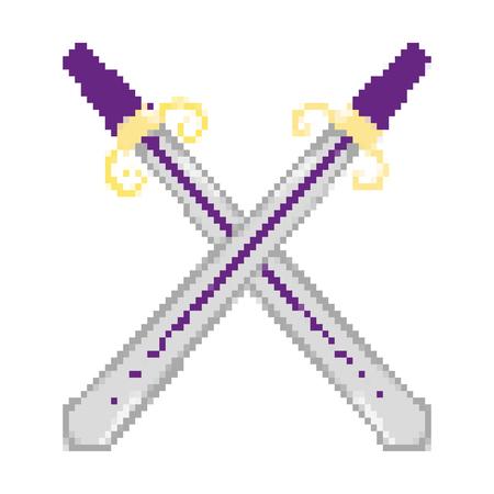 pixelated metal swords weapon style vector illustration