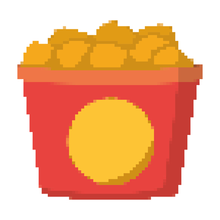 pixelated fried thighs chicken in the box vector illustration 矢量图像