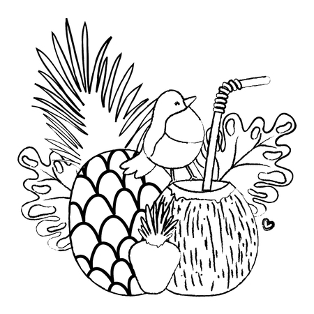 grunge tropical pineapple with coconut beverage and exotic bird vector illustration Illustration